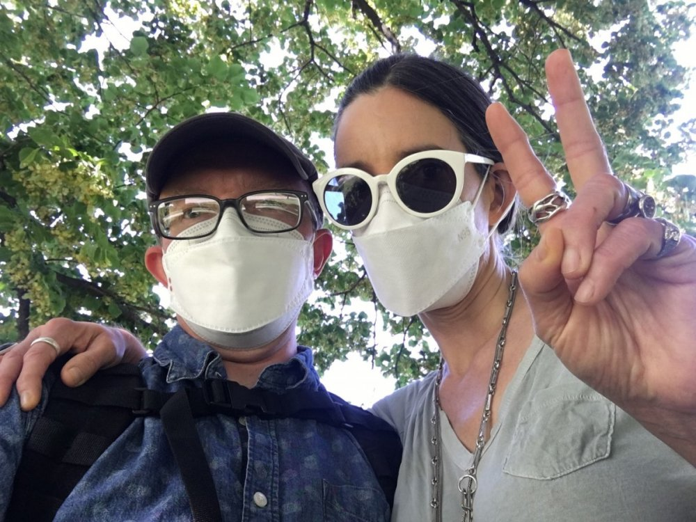 Josh and Juliet masked in park.jpg